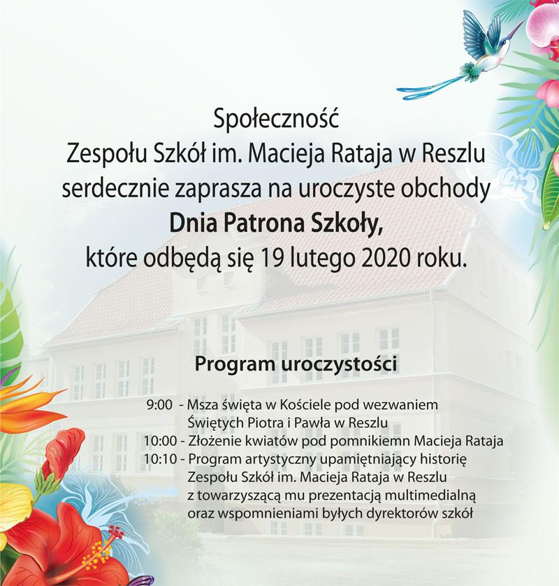 Ilustracja do informacji: Dzień Patrona Szkoły w ZS im. Macieja Rataja w Reszlu