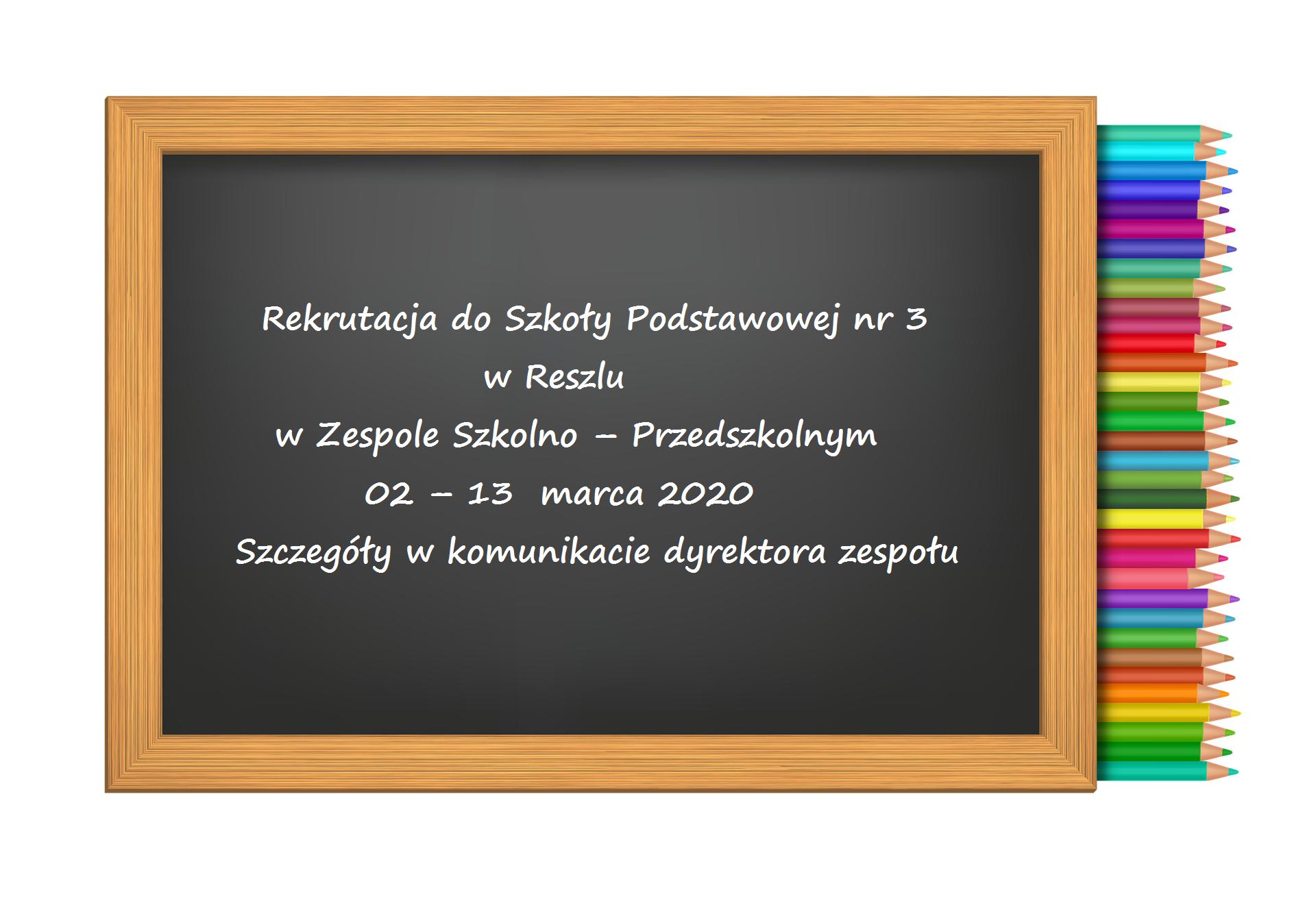 Ilustracja do informacji: Rekrutacja do klasy I Szkoły Podstawowej nr 3 im. Marii Dąbrowskiej w Reszlu