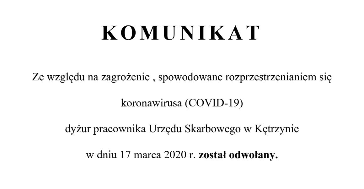 Ilustracja do informacji: Odwołanie dyżuru pracownika Urzędu Skarbowego