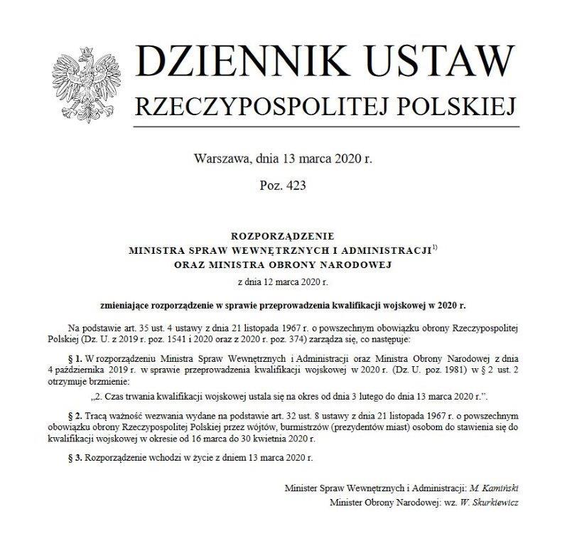 Ilustracja do informacji: Kwalifikacja wojskowa odwołana!