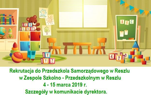 Ilustracja do informacji: Rekrutacja do Przedszkola Samorządowego w Reszlu