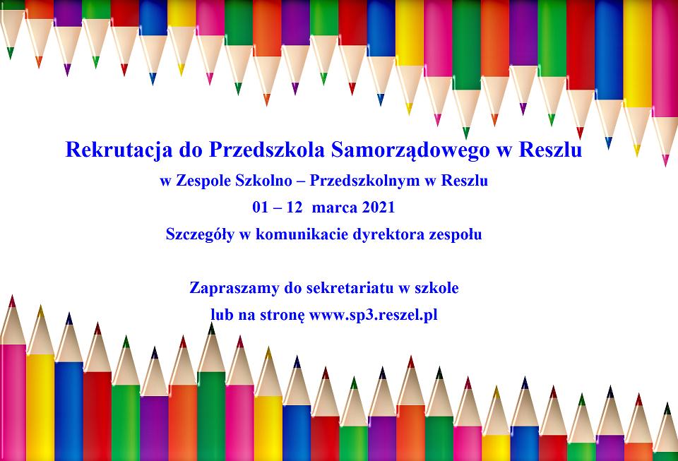 Ilustracja do informacji: Rekrutacja do Zespołu Szkolno – Przedszkolnego w Reszlu