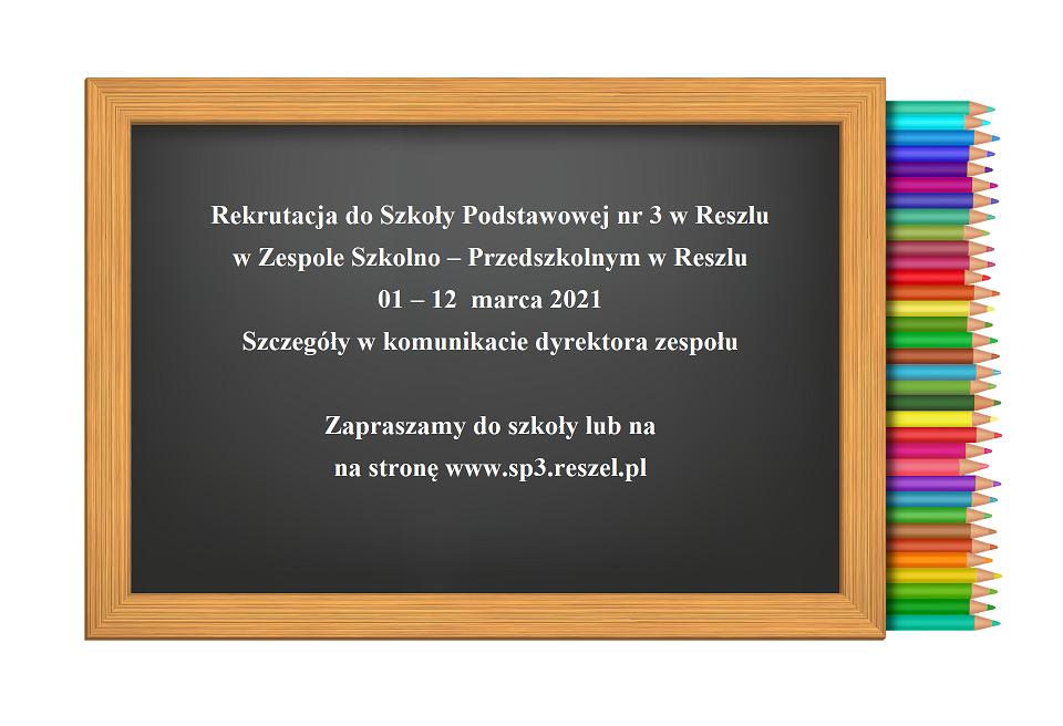 Ilustracja do informacji: Rekrutacja do Szkoły Podstawowej nr 3 im. Marii Dąbrowskiej w Reszlu