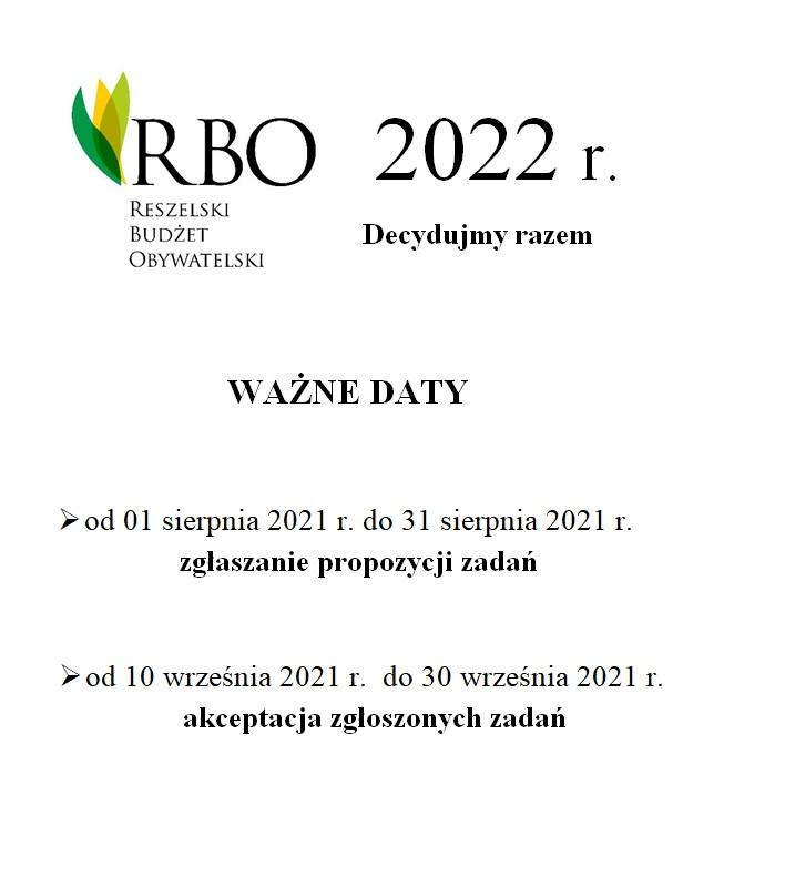Ilustracja do informacji: Wielkimi krokami zbliżamy się do IV Edycji Reszelskiego Budżetu Obywatelskiego RBO 2022. Oto kilka ważnych dat RBO 2022.